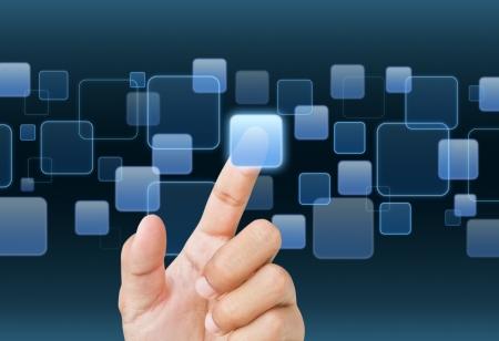 Businessman hand working with digital virtaul screen Stock Photo