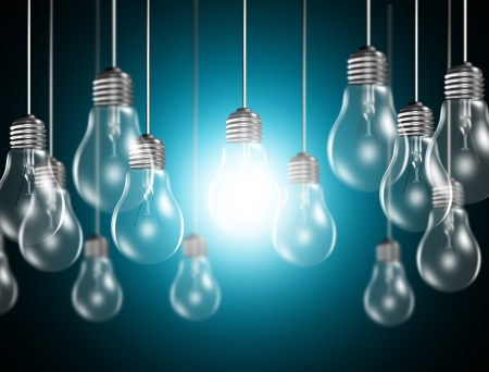 bright idea: Light bulbs on blue background