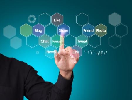 Los medios sociales y el concepto de red Foto de archivo - 21653333