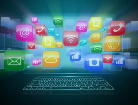 Computer technology, internet communication and cloud computing  photo