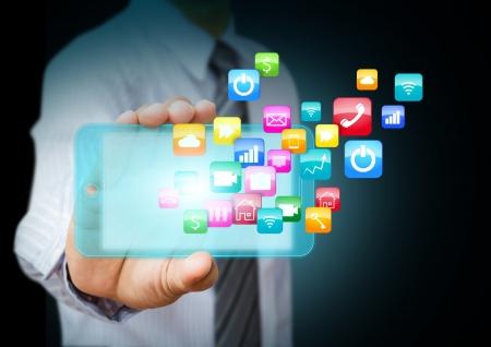 Smart-Handy mit Wolke von bunten Programmsymbole Standard-Bild
