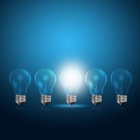 Light bulbs with glowing one Stock Photo - 21929017