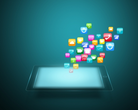 Touch screen tablet with cloud of colorful application icons photo