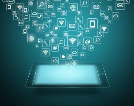 Touch screen tablet with cloud of application icons Stock Photo - 21929068