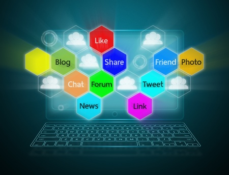 Internet communication and cloud computing concept photo