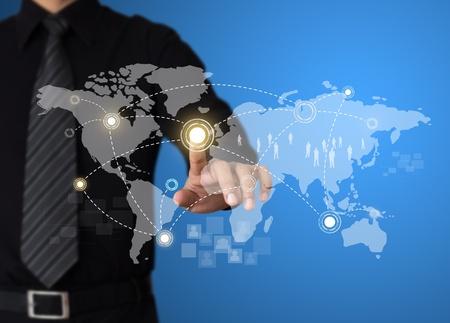 e recruitment: Businessman pressing modern social buttons on touch screen