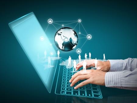Computer-Technologie mit sozialen Netzwerk-Struktur Standard-Bild