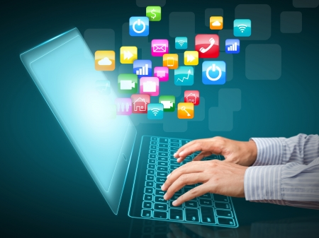application icons: Internet communication and cloud computing concept Stock Photo