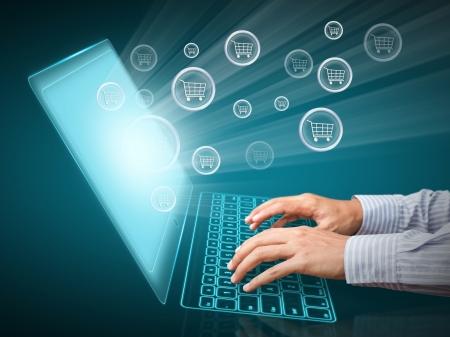 Computer-Bildschirm und Online-Kauf