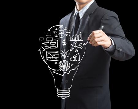 Geschäftsmann Zeichnung Business Strategieplan in Glühbirne
