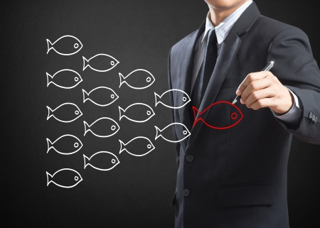 follow the leader: Businessman drawing fishes in group leadership concept Stock Photo