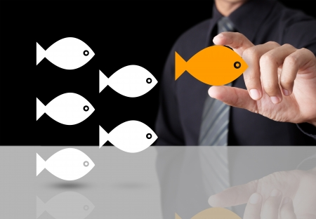 Goldfish showing leader individuality success concept