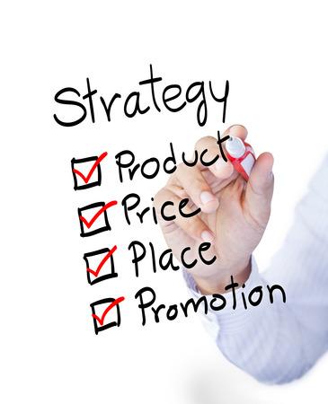 bundling: Business man drawing marketing 4P principle diagram