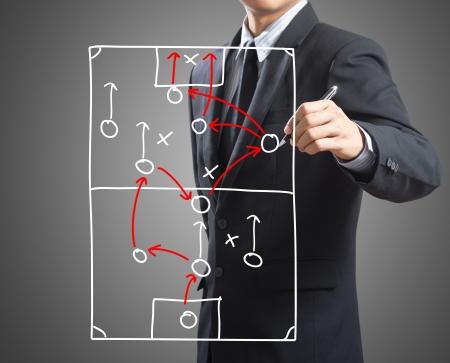 Zakenman tekening tactiek regeling strategie van aanvallende spel aan boord Stockfoto
