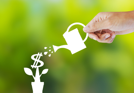 Watering a paper plant that produces money photo
