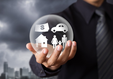 secure home: insurance in crystal ball, Life insurance concept