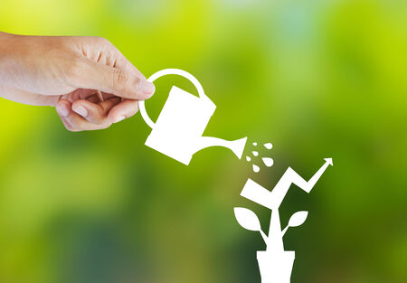 desert water: Concept of growing company with paper plant