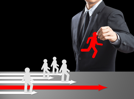 Human resources officer choose employee standing out of the crowd  Leadership concept photo
