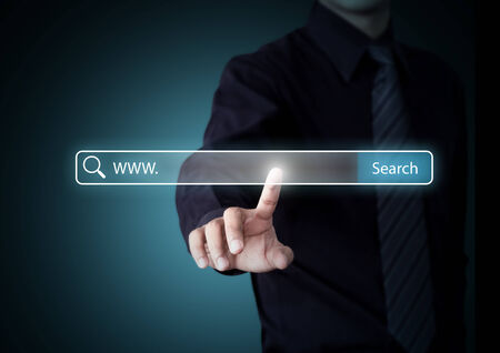 seo: Business hand pressing Search button, Internet technology concept