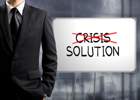 find solution: Business man cross crisis and find solution, Concept of Success