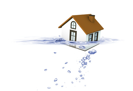 housing crisis: House sinking in water, Real estate housing crisis, Insurance concept Stock Photo