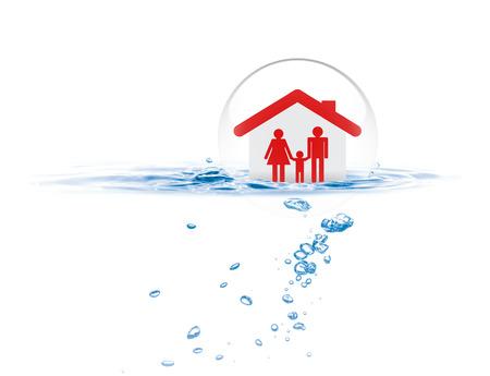 洪水、生命保険の概念から家族を守るための盾