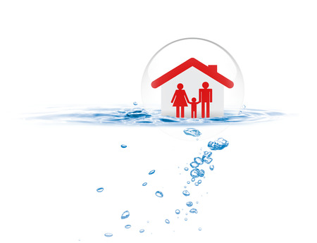 Shield protecting family from flood, Life insurance concept Stock Photo