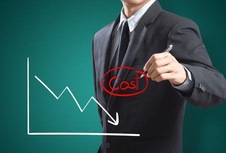 Zakenman het tekenen van de grafiek van de winst te vergelijken met de kosten