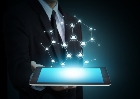 Modern wireless technology and social media on tablet