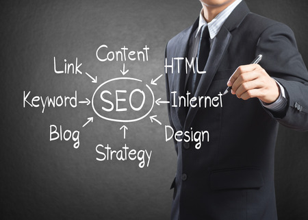 Businessman writing SEO process diagram, Internet concept  photo