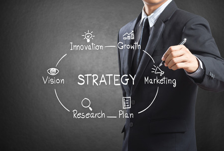 Businessman writing strategy concept