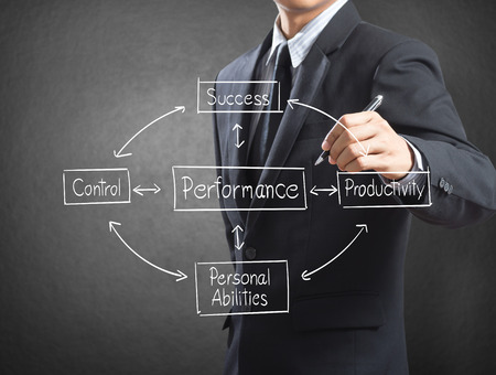Business man writing concept of performance Stock Photo