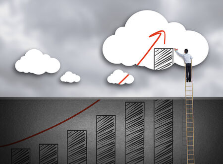 education goals: Businessman climbing ladder drawing growth chart on cloud, success in business concept