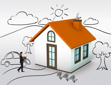 pareja en casa: La compra de la primera casa, casa de ensue�o