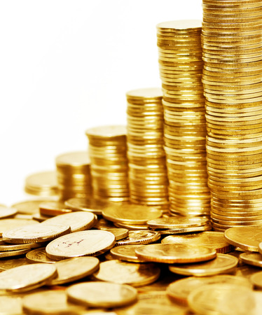 pile of coins: Gold coin stack isolated on white background