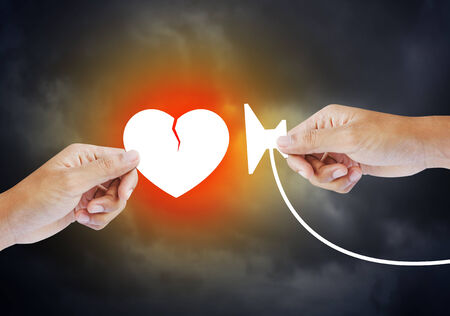 angina: Heart attack with stethoscope Stock Photo