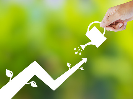 water fall: Concept of growing company with paper plant