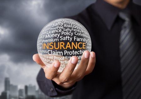 finance manager: Wording in glowing crystal ball, Life insurance concept