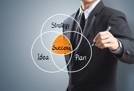 ビジネスマンの成功戦略の概念の計画を描画 写真素材