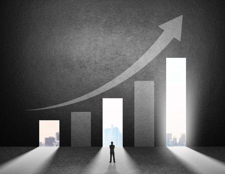 Concept of businessman choosing the right door Stockfoto