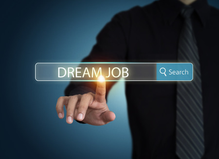 job vacancies: Businessman search for dream job