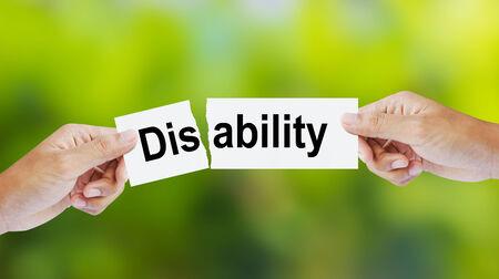 discapacidad: Empresario lagrimeo la palabra Discapacidad de Habilidad Foto de archivo