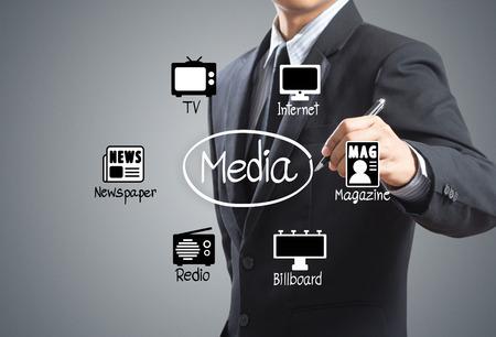 ビジネスの男性メディア アイコンの図を描画