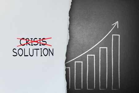crisis management: Cross crisis and find solution, Concept of Success Stock Photo