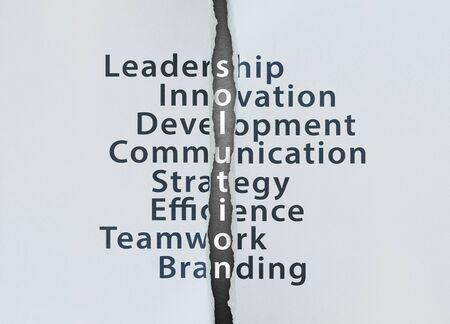 leadership development: Solution Concept with leadership, innovation, development, communication, strategy, efficience, teamwork, branding Stock Photo