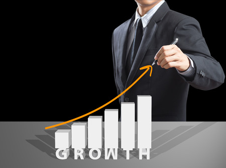 Business man drawing growth chart, success concept 스톡 콘텐츠
