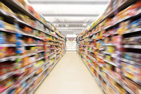 merchandise mart: Abstract blurred photo of store in department store, Empty supermarket aisle, Motion blur