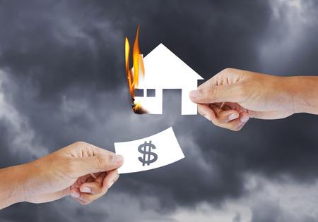 burning house: Burning house, Fire insurance Stock Photo