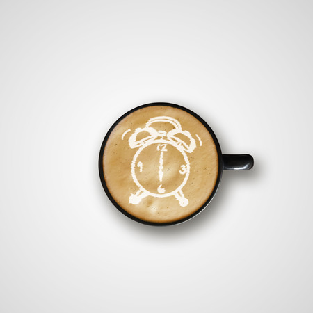 fresh start: Alarm Clock Drawing Latte Art Coffee Cup, hot beverage Stock Photo