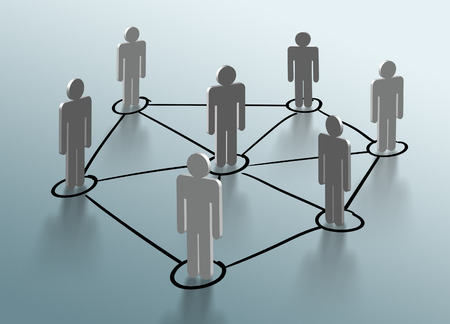 network people: Social network structure. Global network mesh. Group of people talking in social network